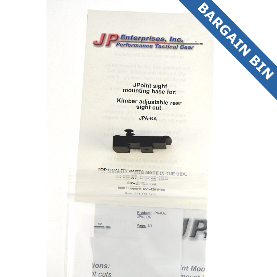 BB700023 JP Enterprises Jpoint Reflex sight mount Kimber Factory ADJ Rear Sight - New