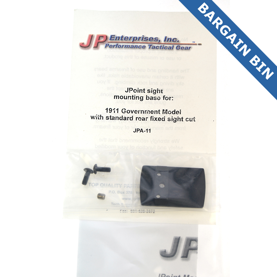 BB700024 JP Enterprises Jpoint Reflex sight mount (1911 Fixed Rear Site Dovetail) - New