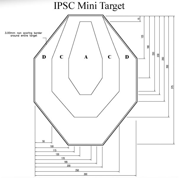 IPSC Miniature (60%) Cardboard targets White Back - 100 Pack